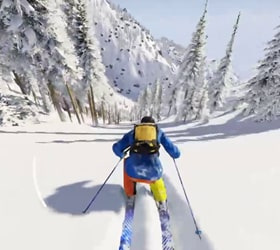 skiiing (a screenshot from a video game)